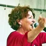 Hilda Clemas gets the crowd going at the Knightshayes Jazz festival in Tiverton